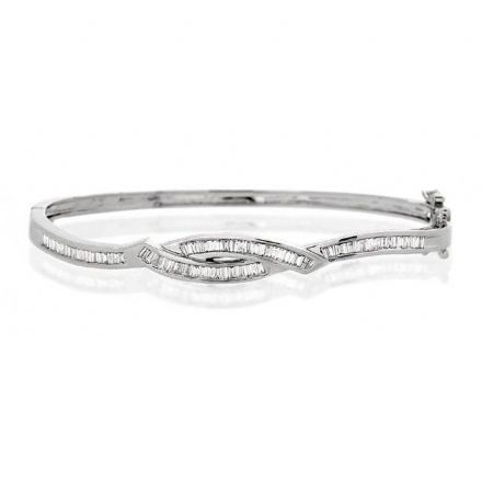 9K White Gold 1.25ct Diamond Bangle, J1058